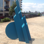 "Painted steel sculpture titled ""Cutter"" by Eric Stein"