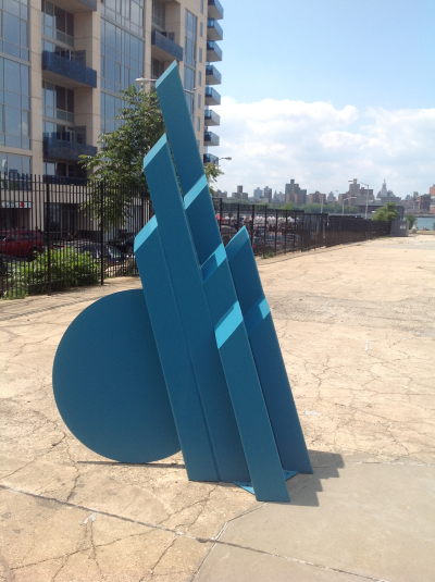 """Painted steel sculpture titled """"Cutter"""" by Eric Stein"""