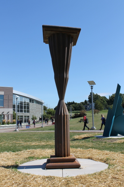 """Steel sculpture titled """"Questioning State"""" by Drew Goerlitz"""